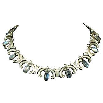 Antonio Pineda Vintage Mexican 970 Silver Moonstone Necklace