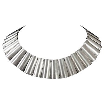 Fred Davis Vintage Mexican Silver Panel Necklace