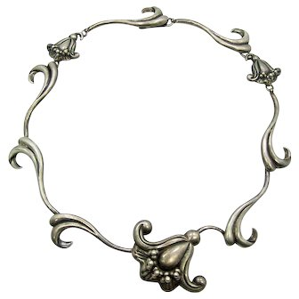 Miguel Vintage Mexican Silver Flower Necklace