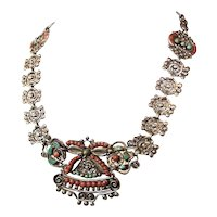 Matl Matilde Poulat Coral Basket Vintage Mexican Silver Necklace
