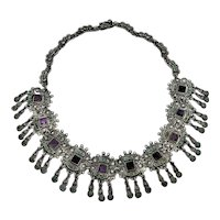 Matl Salas Vintage Mexican Silver Fringe Necklace