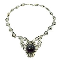 Margot de Taxco #5105 Vintage Mexican Silver Necklace Amethyst Drop
