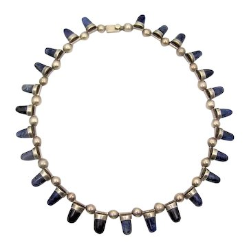 Blue Stone Cylinder Vintage Mexican Silver Necklace