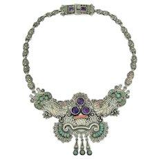 Matl Matilde Poulat Vintage Mexican Silver 3 stone Necklace