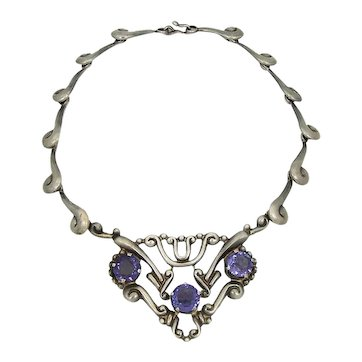 Los Ballesteros Colored Stone Vintage Mexican Sterling Necklace