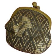 Tiny  Old Brocade Silk Doll Purse with Metal Fastener, Lined in Leather