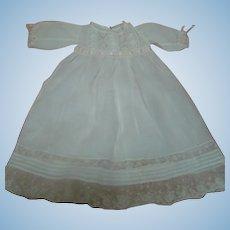Antique Lawn Doll Dress, Insertion Lace, Tucks, Silk Ribbon