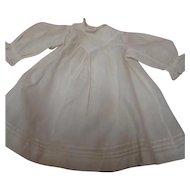 Lovely Antique Doll Dress, Ecru Cotton, Lace Trim, Tucks