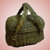 Doll Size Old Straw Basket with Lid and Handles