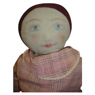 26 In. Antique Homemade Cloth Doll with Painted Features