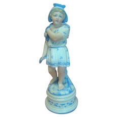 Antique French or German Porcelain Figurine of Child Fisherman