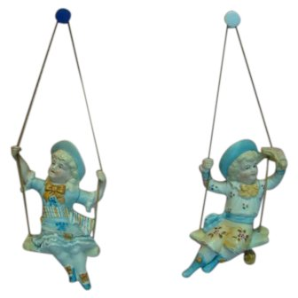 Large 5-1/2 In. Matching Pair Antique German Bisque Swingers
