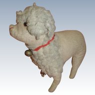 Antique Straw Stuffed Wool Poodle with Collar and Bell