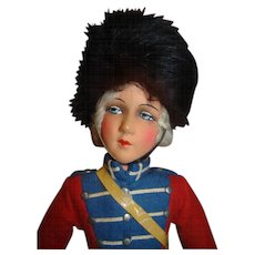 18 In. Vintage Paper Mache British Guard Bed Doll, Minty!