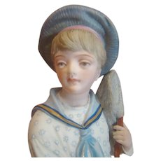 """13.5"""" French Bisque Figurine of Young Boy with Butterfly Net"""