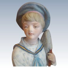 "13.5"" French Bisque Figurine of Young Boy with Butterfly Net"