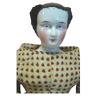 16 In. Original Rare Hairdo China Shoulder Head, Flared Sides, Brush Strokes