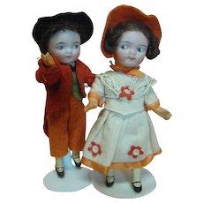 5-1/2 In. Pair of Adorable German Googlies, Original Clothes