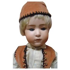 17-3/4 In. German Glass Eye Pouty Character Boy Doll by Gebruder Heubach #7247