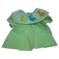 Factory High-Waist Mint Green Dress with Duck Decals for the 1963 Reading Tickles Doll