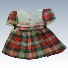 Factory Cotton and Cotton Pique School Dress in Shades of Red and Green, So Pretty