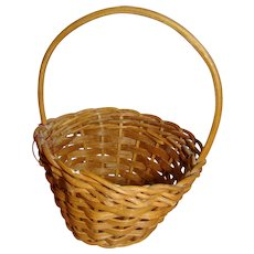 Antique Doll Size Basket with Loop Handle, Perfect to Hold Flowers for Doll Accessory
