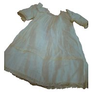"""Antique Factory Lace Trimmed """"Cheesecloth"""" Chemise for a German Child Doll Approximately 16-17 In."""