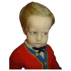 """16.5 In. Lenci Felt Doll from Italy, """"The Sweater Boy"""" from the 300 Series, Original and in Great Condition"""