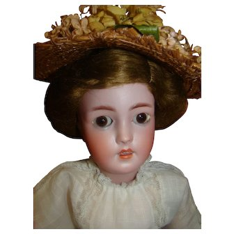 22 In. Simon Halbig Lady Mold #1159, Stamped Handwerck Lady Body with Molded Busts, Antique Clothing, Orig. Elaborate Wig