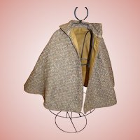 Antique Wool Tweed Lined Cape for Medium to Large Doll