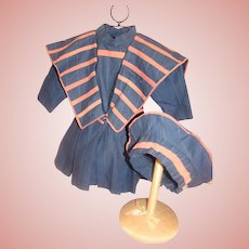 3-Piece Nautical Style Vintage Dress, Belt and Hat for 21-23 Inch French or German Doll