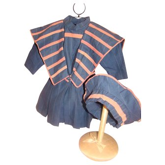 3-Piece Nautical Style Vintage Dress, Belt and Hat for 21-23 Inch French or German Doll, Lined, Highest Quality