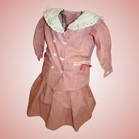 Vintage 2 Pc. Skirt and Double Breasted Loose Fit Jacket / Top for Larger Antique Doll