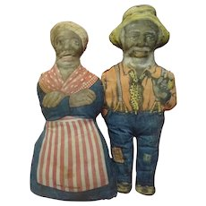 16 In. Aunt Jemima and Uncle Mose Cloth Advertising Dolls for Aunt Jemima Cornmeal; Great Americana