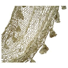 Beautiful Vintage Doll Size Hammock Made from Hand Knotted Twine, Tassel Hanging Ornaments