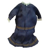 Antique Two-Piece Burgundy Colored Skirt and Top for Large Antique Doll 23-24 In. Tall