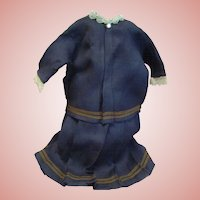 Antique Two-Piece Skirt and Top for Large Antique Doll 23-24 In. Tall