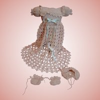 Delicate Vintage Hand Crocheted Ecru Baby Gown, Bonnet and Booties for an Antique Doll Approximately 6.5 - 7 Inches Long