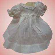 Lovely White-on-White Stripe Design Cotton Doll Dress, Factory Made, High Waist with Short Puff Sleeves, Lace Trim