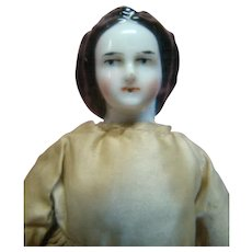 8 In. Original Uncommon Hairdo China Shoulder Head Doll from Estate Collection, Silk Clothes, Terrific Doll!
