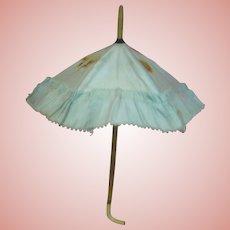 Authentic Original Antique Blue Silk Doll Parasol