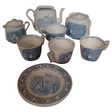Partial 12 Piece Set of Very Scarce English Staffordshire's Child's Blue Transferware from the Nursery Rhymes Series, Cir: 1885-1888