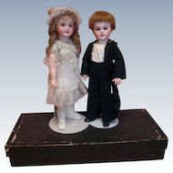 Pair of 18 In. French Bisque Bebe Jumeau Dolls, Dressed 100% Originally as Bride and Broom, SFBJ 301 and DEP