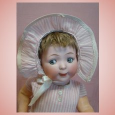 Original 15 In. Hertel, Schwab & Co. Googly Mold #165, Lots of Character, Open/Closed Mouth, Pale Blue Glass Sleep Eyes