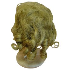 Great Antique Human Hair Wig with Waves and Curls, 12 In. Circumference