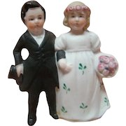 "3 Inch Porcelain All Bisque Wedding Couple for Cake Topper or Figurine Collection, Marked ""Germany,""  Excellent Quality, Cir:  1910-1920"