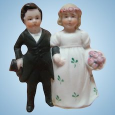 """3 Inch Porcelain All Bisque Wedding Couple for Cake Topper or Figurine Collection, Marked """"Germany,""""  Excellent Quality, Cir:  1910-1920"""