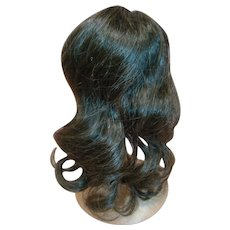 Lovely 10 In. Circumference Vintage Brunette Human Hair Wig, Clean and Shiny with Long Loose Curls and Bangs