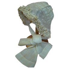 Outstanding Antique Decorated Ecru Cotton and Lace Child's Bonnet for a 28-32 Inch Child Doll or a 20-24 Inch Baby Doll