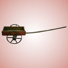 Antique Red Wooden Pull Cart, Doll Size, Wooden Wheels and Spokes, Original Parts and Red Paint Finish, Cir:  Late 1800's-Early 1900's